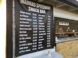Madras concession menu
