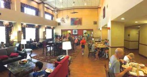 hotel crowded breakfast room