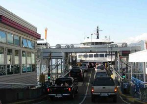 These ferryboats can haul about 300 cars. They run about 10 crosssings each way every day.