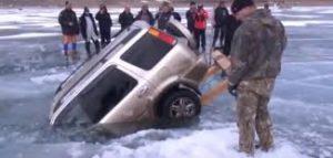 car sinking in ice