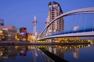 The Millennium Bridge & Lowery Centre at Salford Quays in Manchester in England