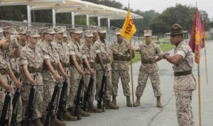 Sgt. Diego Hernandez, 28, a drill instructor with Platoon 1078, Charlie Company, 1st Recruit Training Battalion, motivates his recruits for their initial drill evaluation Sept. 15, 2014, on Parris Island, S.C. Close-order drill helps instill discipline and unit cohesion. Recruits are graded by drillmasters, experts on the Marine Corps Drill and Ceremonies Manual, on their discipline and appearance. Hernandez is from New Orleans. Charlie Company is scheduled to graduate Nov. 7, 2014. (Photo by Cpl. David Bessey)